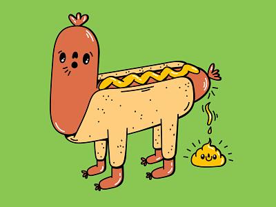 Hot Dog Poop cute animal cheeky happy food bun mustard cutie funny poop fastfood hot dog cute dope digital vector illustration