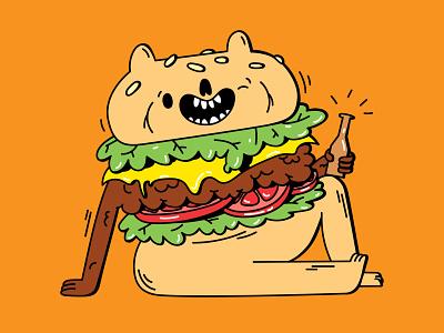 Cheeky Burger drinks cheese cheeseburger hamburger characterdesign food hey cute beer cheeky burger dope digital vector illustration