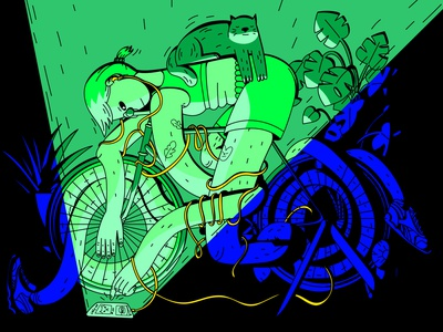 Lazy AF exercise stretching stretched turbo trainer doom scrolling tired lazy workout pandemic covid lockdown home cat bicycle bike cycling dope digital vector illustration