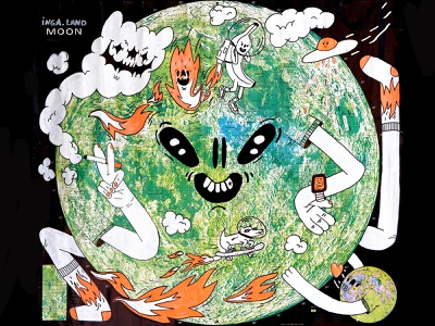 Ingaland Moon cosmos planet science sci-fi fineliner space dog fire banana smoke dope outerspace space moon maps markers posca molotow hand drawn illustration