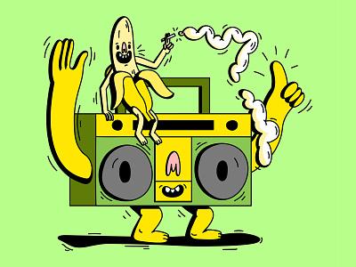 Slippin' club flyer rave club music 140bpm garage jungle 420 banana boombox mascot logo branding summer smoke smile dope digital vector illustration