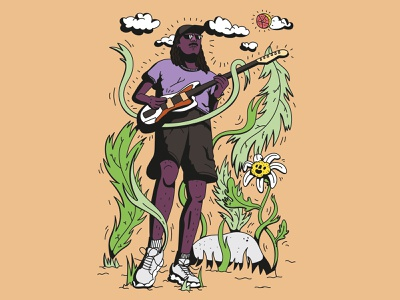 Dev Hynes AKA Blood Orange leaves dev hynes flora persona portrait musician concert guitar clouds flower blood orange music nature sun summer smile dope digital vector illustration