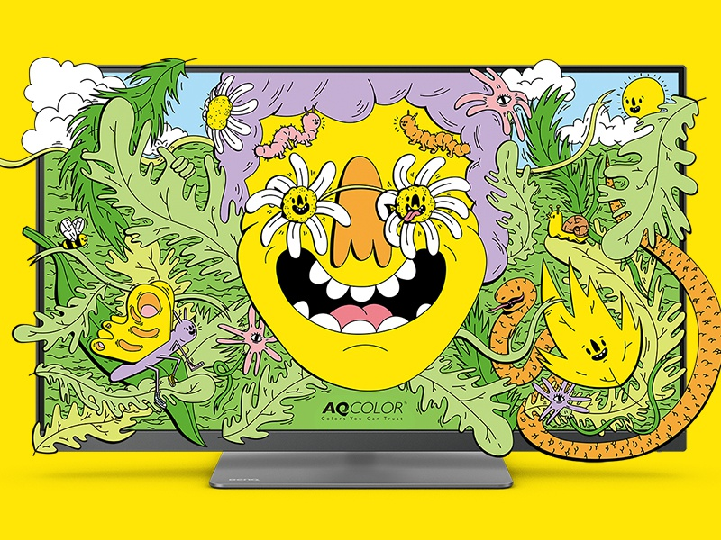 BenQ Screensaver screen wild crazy flower bee sunny butterfly summer psychedelic nature wallpaper desktop wallpaper screensaver desktop happy smile dope vector digital illustration
