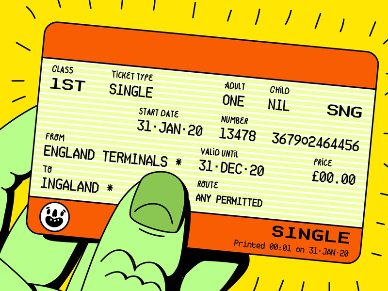 Ticket to Ingaland great britain immigration cheeky travel european union europe eu politics uk ticket train ingaland brexit england digital vector illustration