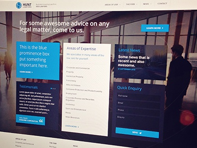 Hunt Lawyers - Home page flat clean hunt lawyers home landing blue video background page law firm