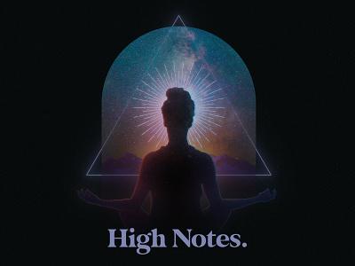 High Notes art universe galaxy geometric trinity triangle polygon spiritual high notes stars graphic design branding logo thought soul body mind spirit meditation