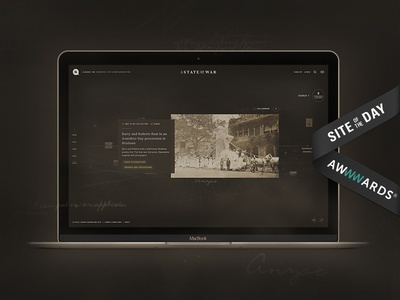 A State Of War history queensland layout sotd site of the day award awwwards 1 war world