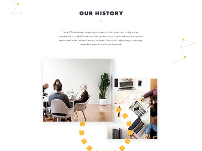 A lil' history lesson story shapes brand connectors particles yellow company about history