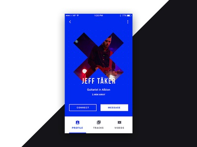 Profile design product ui mobile user avatar cross blue music profile musician app