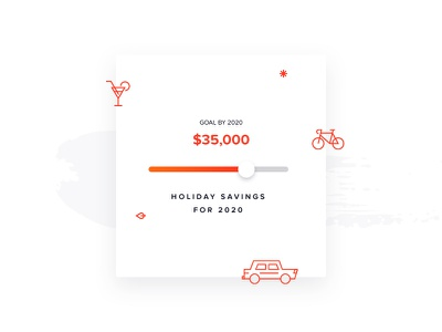 Holiday savings ui minimal clean brush icons orange goal savings slider
