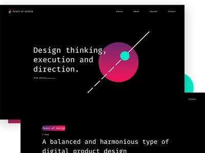 Peace of Design landing home clean typography digital ux ui black minimal portfolio website branding