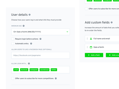 The form, the field and the button drag text icon tag checkbox green ui input field button form