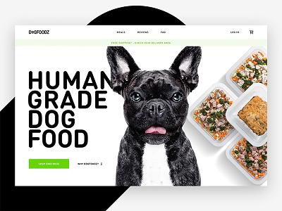 Human grade dog food design visual website green home page landing hero food dog