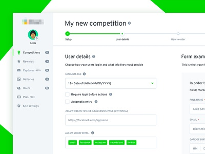 New competition ui form fields tags url icons green process progress bar