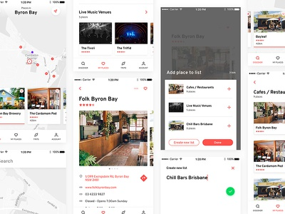 Places places discover save listing mobile ux ui icons location map