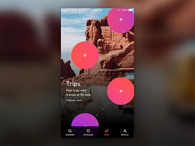 Trips orange purple travel icons brand mobile app branding