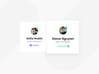 Profile Cards profile card ui follow button avatar badge shapes clean