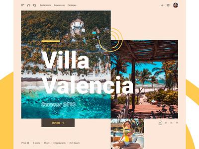 Villa Valencia travel accommodation hotel villa beach big type summer yellow holiday ui branding slider landing page home