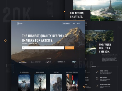 Matte Paint ui tech grid layout mountains art form visual design artists icons button search photography orange landing page home page