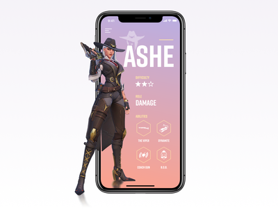 Character profile character animation cowgirl concept icons ux ui app mobile profile overwatch ashe character
