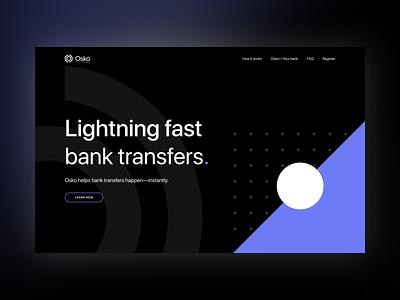Osko concept circles shapes pattern sans serif button ui violet blue branding sf pro display typography hero home page landing page osko