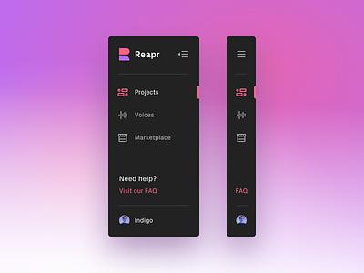 Menu snippet menu design gradient minimal interaction purple pink branding logo menu icons ui