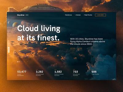 Skyvërse photoshop blue orange statistics landing page homepage button visual design lifestyle city luxury concept ui futuristic clouds sky