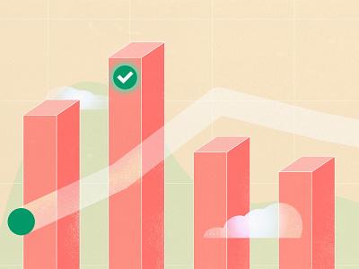 Focus Metric Chart - Blog Image for Mixpanel tech texture grain header blog vector graphic illustration charts metrics data