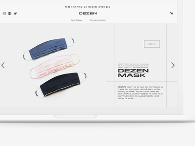 Web Design for DEZEN product branding fashion minimalist mask product design homepage webdesign