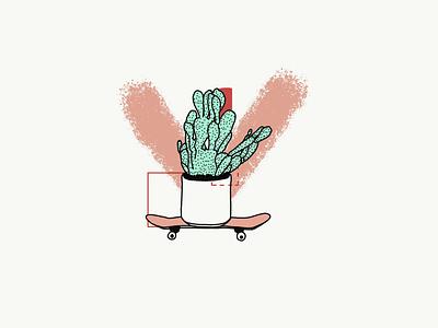 Cactus Bro design vector abstract cute tattoo lineart illustraion skater skateboard nature cactus