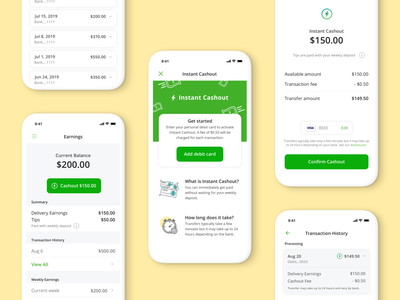 Instant Cashout design app ui ux
