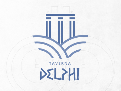 Taverna Delphi Logo brand greek greece restaurant logo logodesign blue food delphi branding
