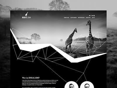 Idealism Landingpage idealism design homepage webdesign ui black and white screendesign web girafe website agency freelance