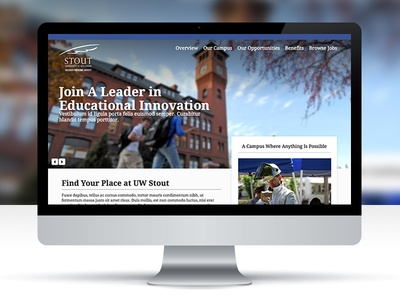 Educational Homepage Layout education school uw stout career site layout interface landing page homepage
