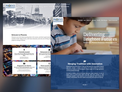 Phoenix Elementary - Career Site layout educational school learning web design grid stacked full-width