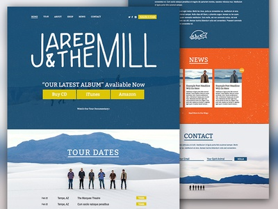 Jared & The Mill band music phoenix az layout tour marketing web design