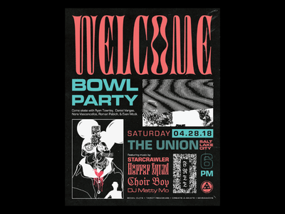 Bowl Party Poster digestive flyer skateboarding layout typography print poster