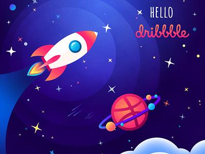 Hello Dribbble! dribbble planet star space web illustration