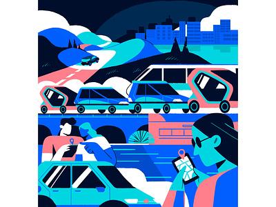 Concept Of Mural For Automotive Company graph marketing ui infografia logo libro de tapa gente negocios grafico icono ux pintar arte vector diseño diseños de personajes animación ilustración