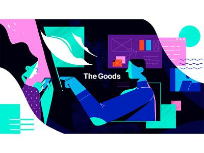 The Goods landingpage banner podcasts márketing ui infografia logo libro de tapa gente negocios grafico icono ux pintar arte vector diseño diseños de personajes animación ilustración