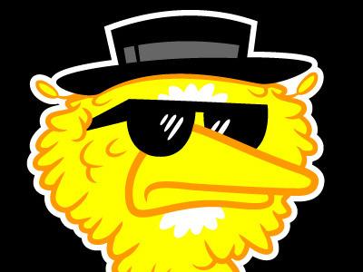 Heisenbird cartoons illustration tshirt design vector fan art breaking bad sesame street big bird