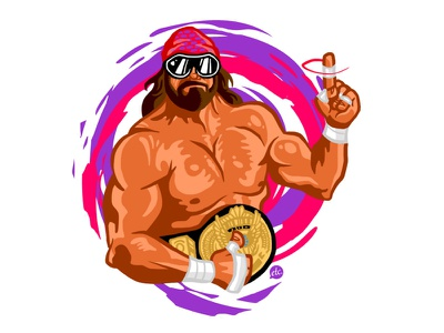 The Madness illustration macho man randy savage wwe professional wrestling 80s