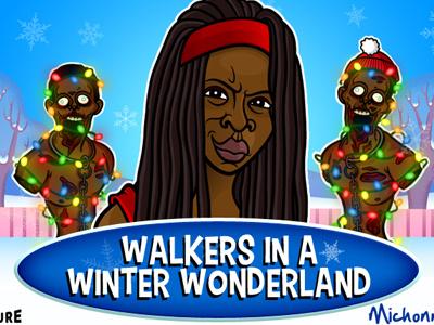 Walking Dead Xmas Card cartooning illustration xmas michonne the walking dead tv