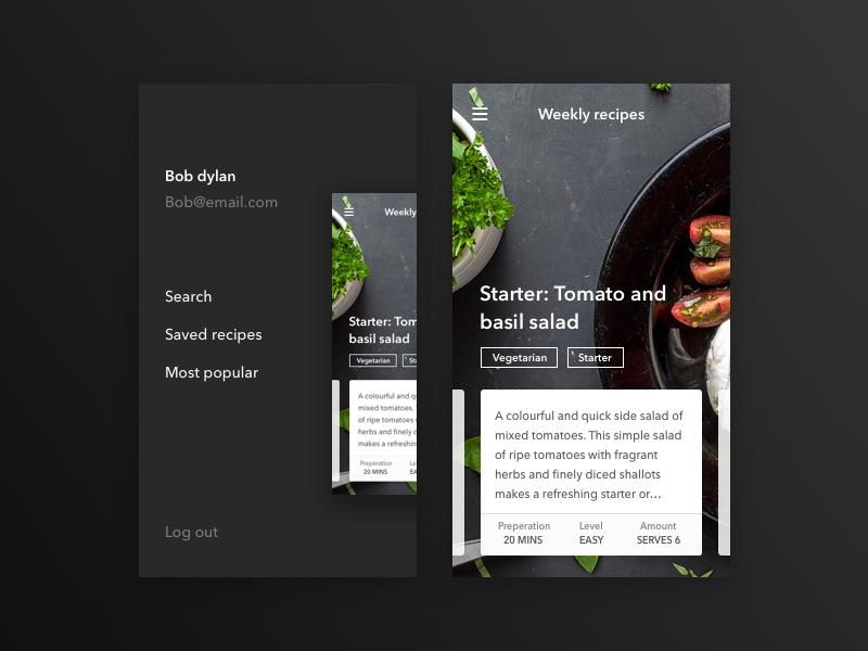 Main menu recipe ux ui food menu