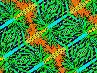 80s Palm Leaf Sunset pattern sunset 1980s neon palmtrees