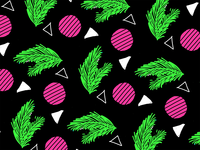 80s Palm Leaf & Radish Geometric Pattern