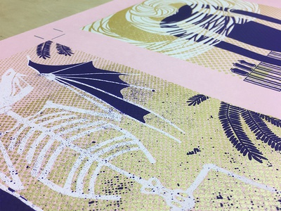 Exquisite Monsters hand-bound book genie pterodactyl purple gold pink screenprinting monster