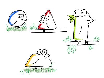 Geometribirds characters animal cartoon vector illustration