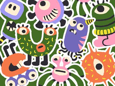 virus monster cute monster virus green illustration brush