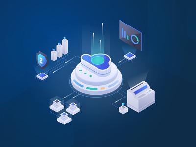 IoT factory industry iot vector illustration blue 2.5d